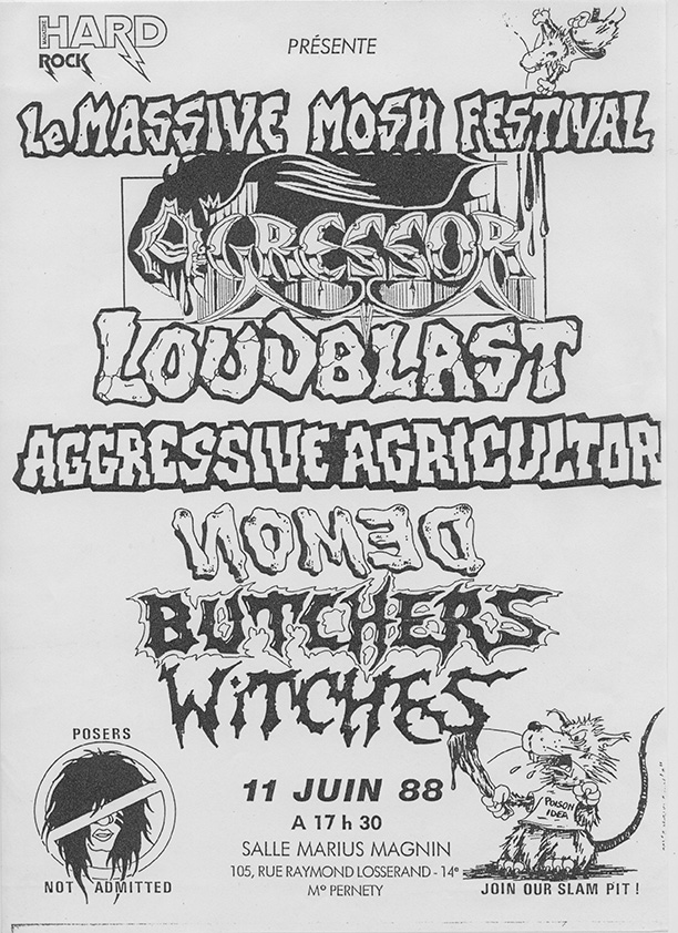 Witches flyer Nomed, Agressive Agricultor, WITCHES, Loudblast, Agressor @ Massive Mosh Festival Salle Marius Magnin Paris