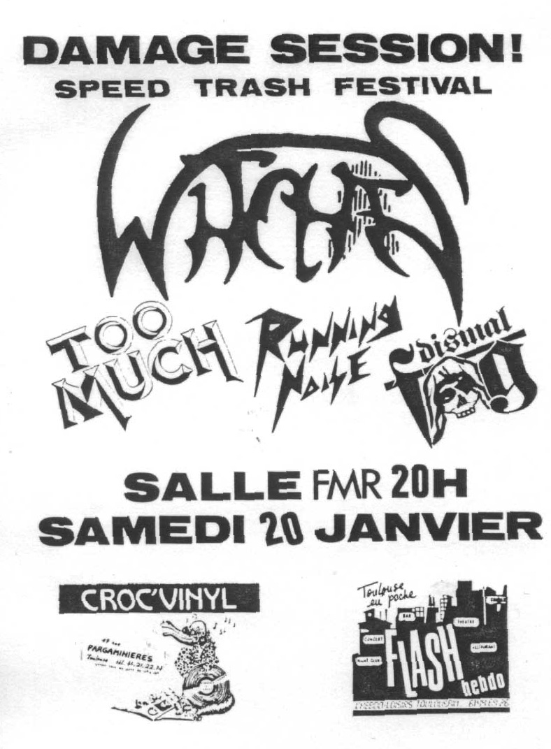 Witches flyer WITCHES + Dismal Fog + Running Noise + Too Much @  Salle FMR Toulouse (30)