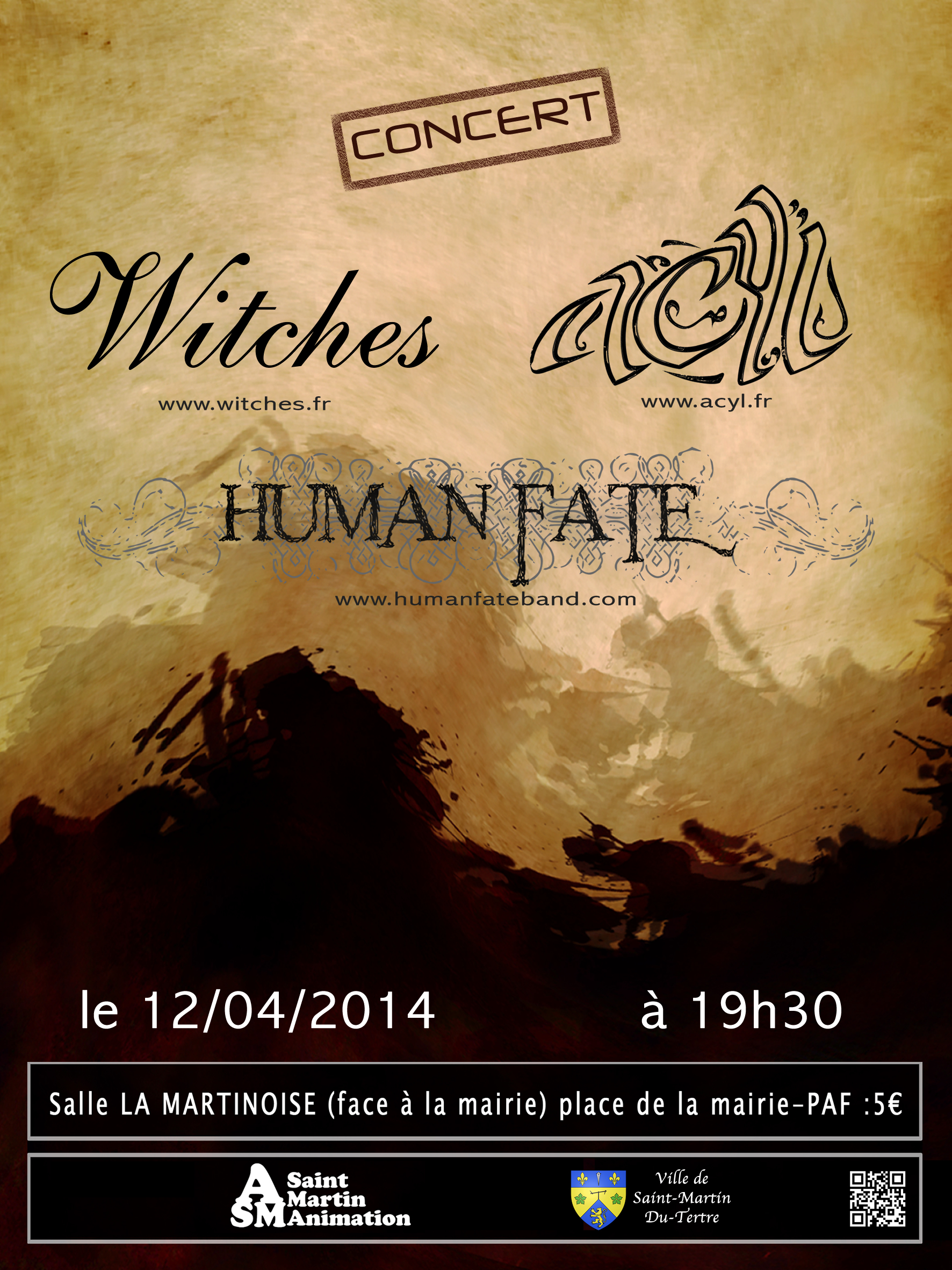 Witches flyer WITCHES + Human Fate + Desarticulate @   Saint Martin du Tertre (95-France)