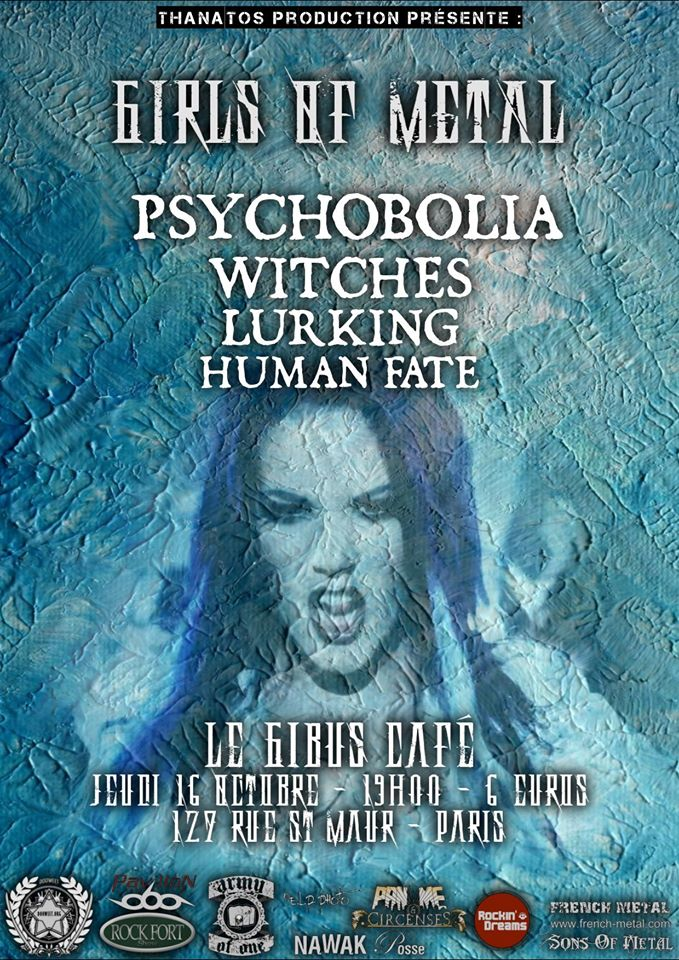 Witches flyer Psychobolia + Witches + Lurking + Human Fate (Annulé/Cancelled) @  Gibus Café Paris, France