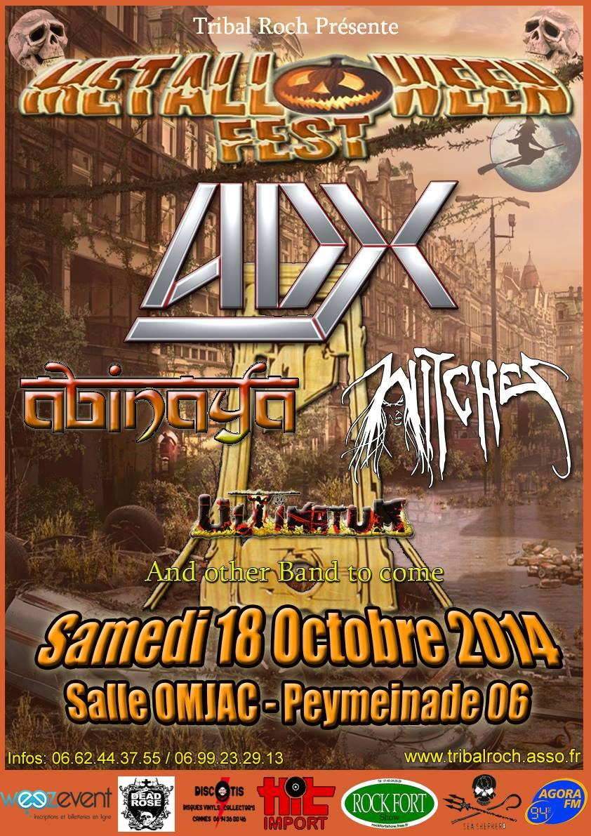 Witches flyer ADX + ABINAYA + WITCHES + ULTIMATUM + AFTER CHAOS PROJECT (Annulé/Cancelled) @  Salle Daudet Peymeinade(06)