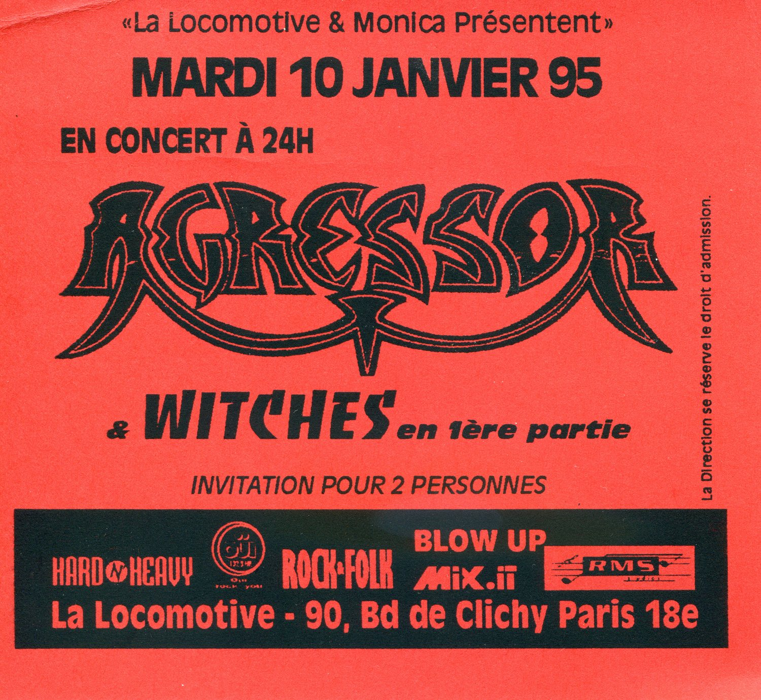 Witches flyer Agressor+ WITCHES @  La Locomotive Paris