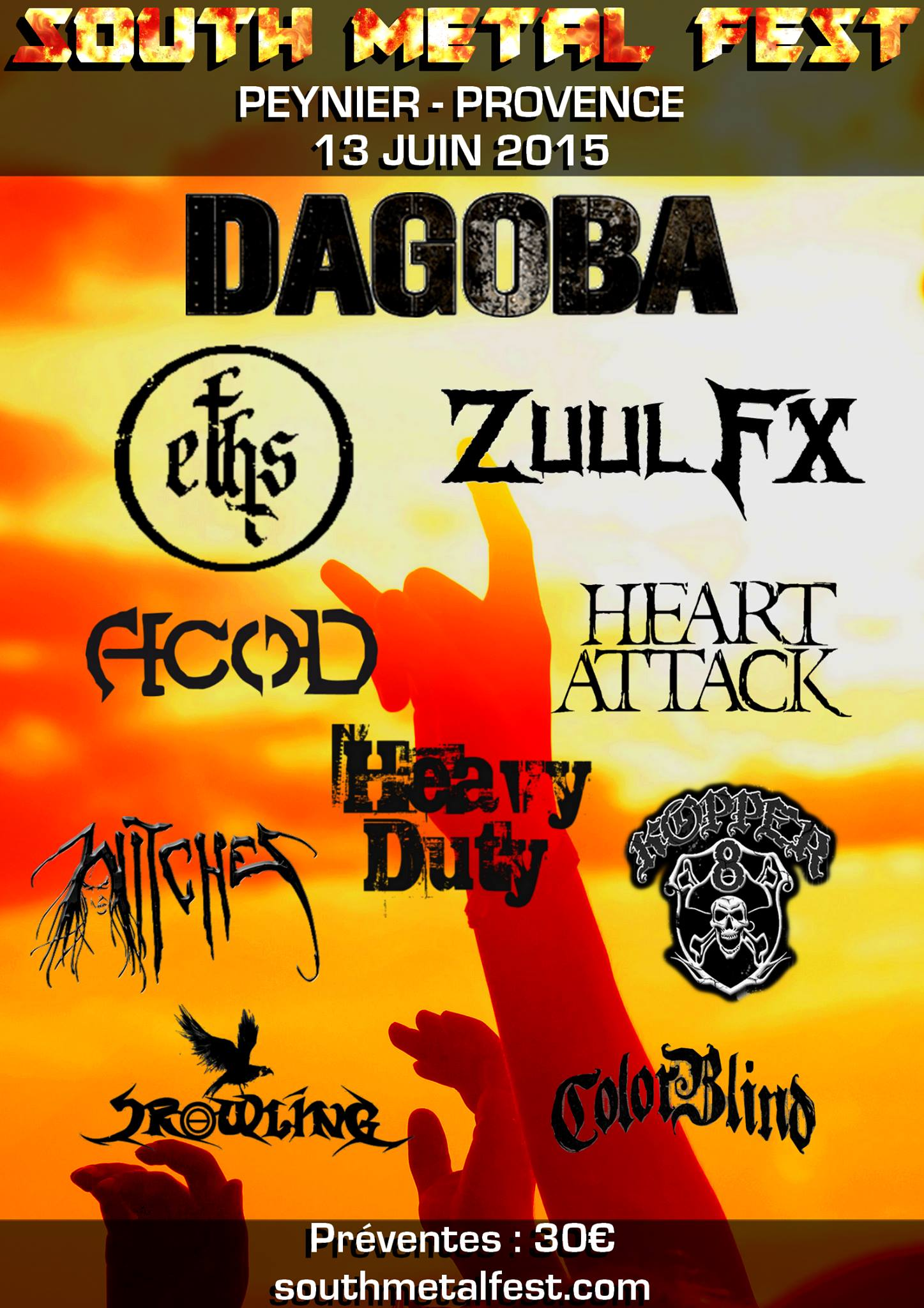 Witches flyer Dagoba + Eths + Zuul FX + A.c.o.D.+ Heavy Duty + Heart Attack + Kopper 8 + WITCHES + Crowling + Colorblind @  South Metal Fest Peynier (13, France)