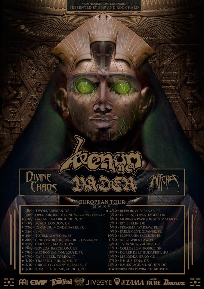 Witches flyer Venom inc + Vader + Divine Chaos + Witches @ European Tour Circulo Colony Brescia, Italy