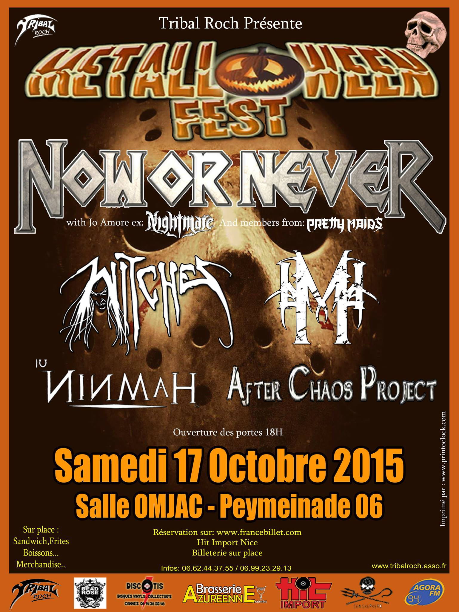 Witches flyer Metalloween Festival : Now or Never + Witches + Moghan RA + Ninmah + After Chaos Project @ Witches 'Hunt Europe Tour Salle OMJAC Peymeinade (06), France