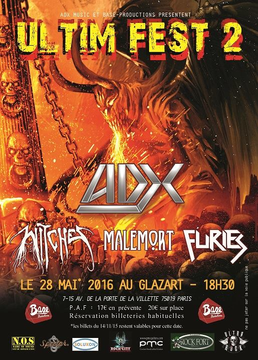 Witches flyer ADX, Witches, Malemort, Furies @ Ultim Fest Glazart Paris, France