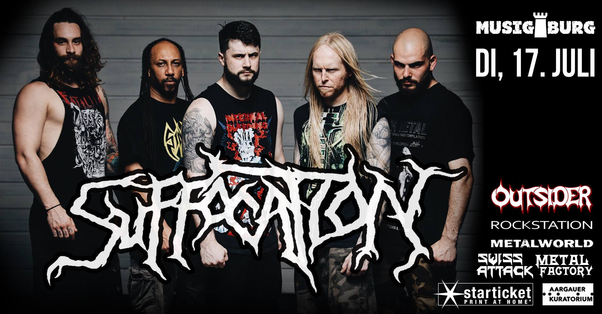 Witches flyer Suffocation + Witches @ Suffocation (Realm of Darkness European Tour: Part 2) / Witches Suffocating Summer Tour 2018 Musigburg Aarburg, Swizterland - CH