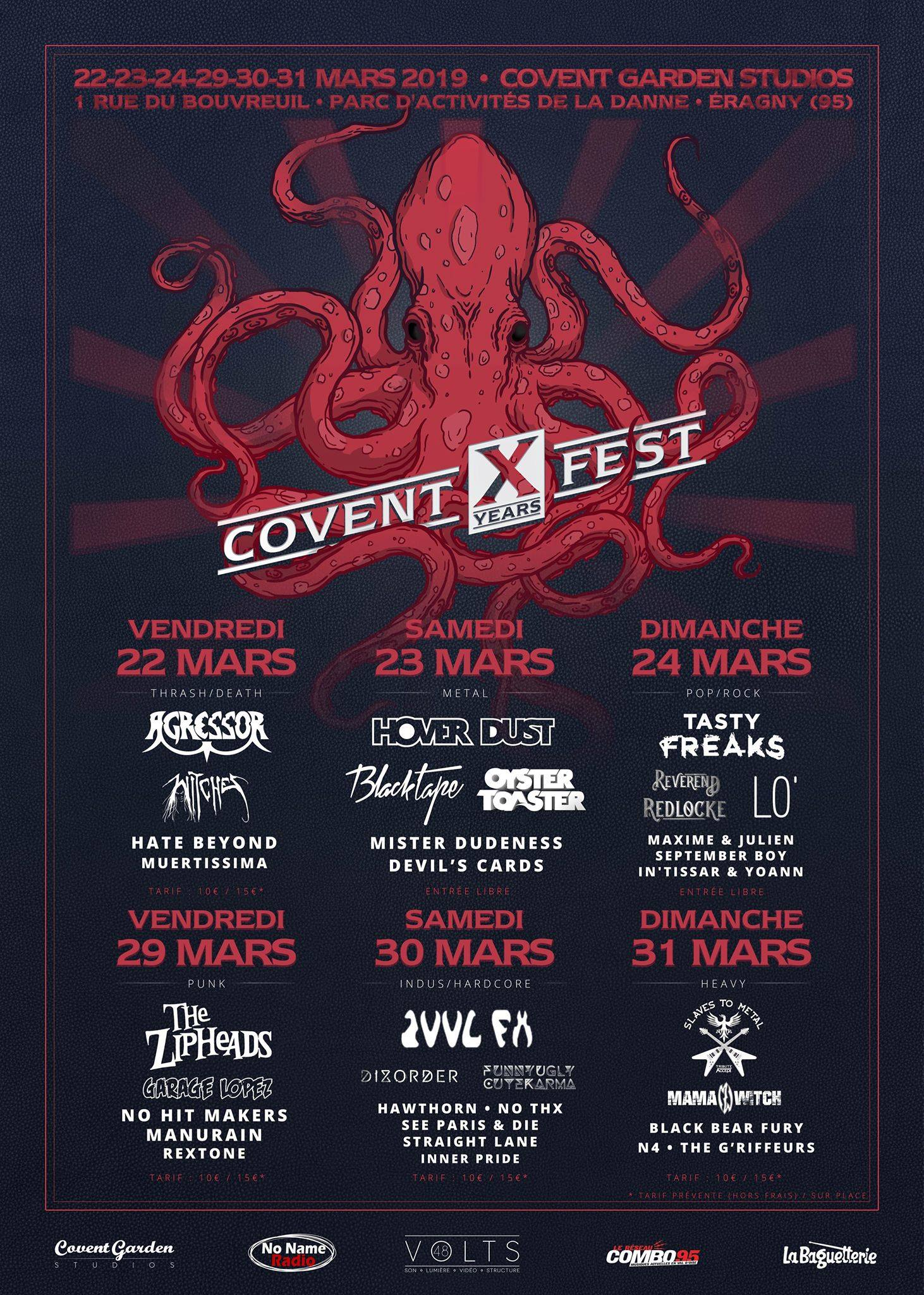 Witches flyer Agressor + Witches + Hate Beyond (JPN) + Muertissima @ Covent X Years Fest Covent Garden Eragny (95), Fr