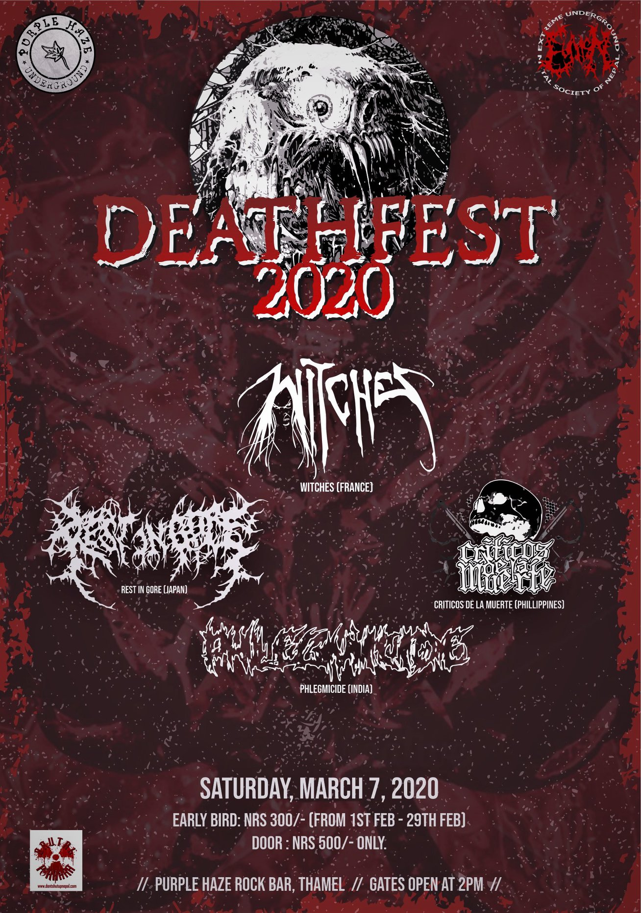 Witches flyer  @ Nepal Deathfest Purple Haze Rock Katmandou, Nepal